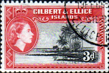 Post Stamp Gilbert and Ellice Islands 1956 SG 68 Seascape Fine Used Scott 65