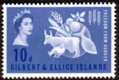 Stamps Gilbert and Ellice Islands 1963 Freedom From Hunger Fine Mint