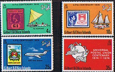 UPU Stamps Gilbert and Ellice Islands 1974 Universal Postal Union Set Fine Mint