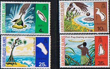 Postage Stamps Gilbert and Ellice Islands 1975 Legends of Island Names Set Fine Mint