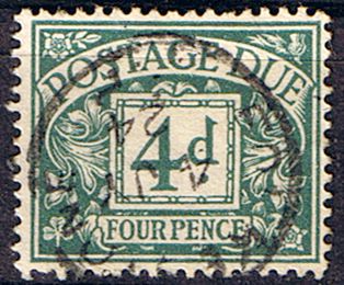 Stamps of Great Britain 1914 Post Due SG D4 Fine Used Scott J4