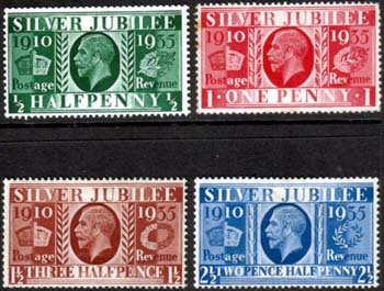 Great Britain 1935 King George V Silver Jubilee Stamps