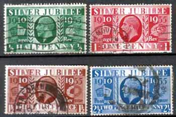 Great Britain Stamps 1935 King George V Silver Jubilee Set Fine Used