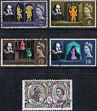 Great Britain 1964 William Shakespeare Stamps