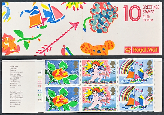 Postage stamps of great britain 1989 greetings booklet sg fy1 m4hsunfo