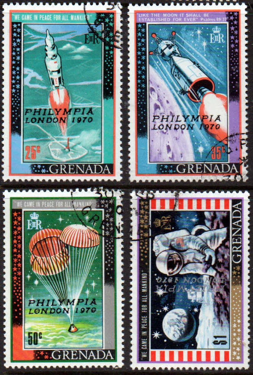 Grenada 1970 First Man On The Moon Philympia Stamp Exhibition Set Fine Used