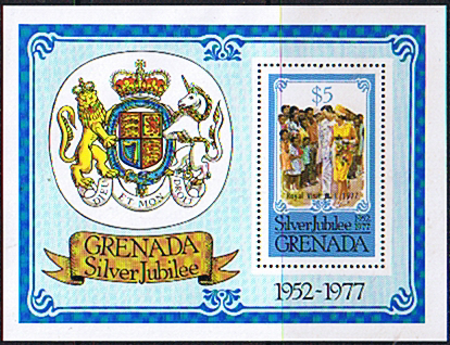 Stamp Stamps Grenada 1977 Royal Visit Set Miniature Sheet Fine Mint
