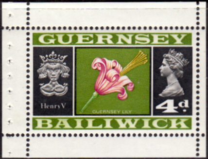British Regional Stamps stamp Guernsey 1969 SG 18 King Henry V and Lilly Flower Fine Mint	 SG 18