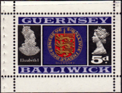 Channel Island Stamps Stamp Guernsey 1969 SG 19 Queen Elizabeth I and Coat of Arms Fine Mint SG 19 Scott 14
