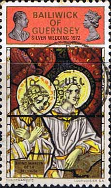 Guernsey 1972 Christmas and Silver Wedding Duel Issue Stained Glass SG 76 Fine Used