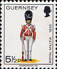 Postage Stamps Guernsey 1974 Military Uniforms SG 106 Colour-Sergeant of Grenadiers Fine Mint Scott 103
