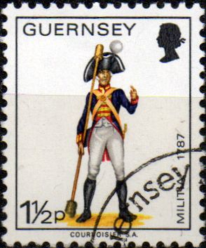 Great Britain Regional Stamps Stamp Guernsey 1974 Military Uniforms SG 100 Gunner Artillery Fine Mint SG 100 Scott 97