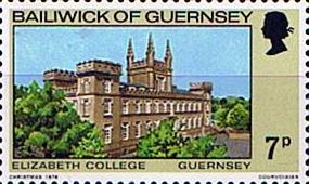 Postage Stamps Guernsey 1976 Christmas. Buildings Set Fine Mint