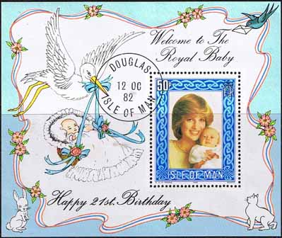 1982 Isle of Man Diana Royal Baby Mini Sheet Fine Used