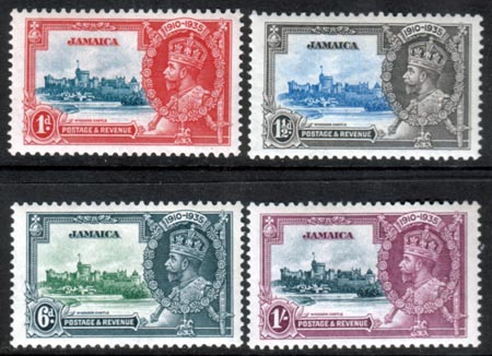 Jamaica Stamps 1935 King George V Silver Jubilee Set Fine Mint