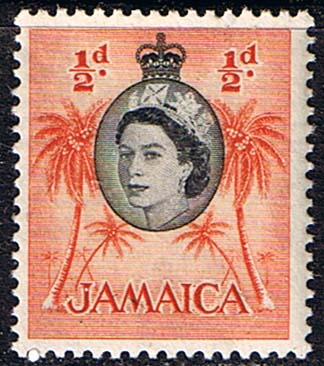 Stamps Jamaica 1956 SG 159 Queen Elizabeth and Coconut Palms Fine Mint Scott 159