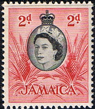 Stamps Jamaica 1956 SG 161 Queen Elizabeth and Pineapples Fine Mint Scott 161
