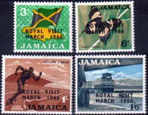 Jamaica Stamps 1966 Royal Visit Set Fine Mint