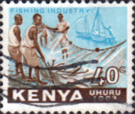Postage Stamps Kenya 1963 Independence Fishing SG 6 Fine Used Scott