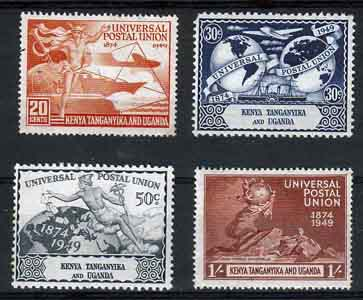 Kenya Uganda and Tanganyika Stamps 1949 Universal Postal Union Set Fine Mint