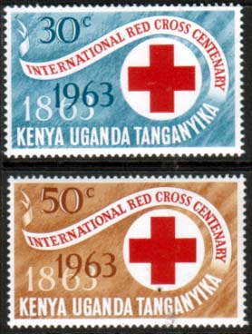 Stamps Kenya Uganda Tanganyika 1963 Red Cross Centenary Set Fine Mint
