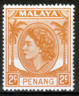 Malay State of Penang 1954 SG 29 Queen Elizabeth II Head Fine Mint