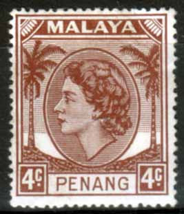 Malay State of Penang 1954 SG 30 Queen Elizabeth II Head Fine Mint