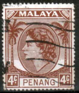Malay State of Penang 1954 SG 30 Queen Elizabeth II Head Fine Used