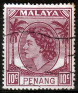 Malay State of Penang 1954 SG 34 Queen Elizabeth II Head Fine Used