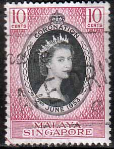 Malaya Singapore Stamps Queen Elizabeth Ii 1953 Coronation