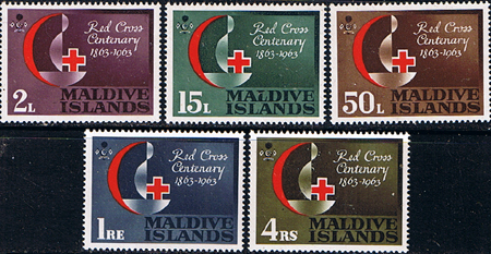 Stamps Maldive Islands 1963 Red Cross Centenary Fine Mint
