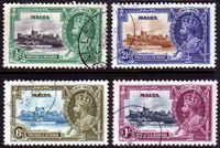 Postage Stamps Malta 1935 King George V Silver Jubilee Set Fine Used