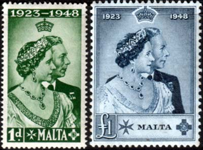 Malta Stamps 1948 King George VI Royal Silver Wedding
