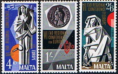 Stamps of Malta 1968 Food and Agriculture Set Fine Mint