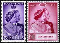 Mauritius Stamps 1948 King George VI Royal Silver Wedding
