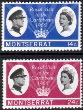Stamps Montserrat 1966 Caribbean Royal Visit Set Fine Mint