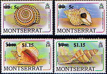 Montserrat 1991 Surcharged Shell Fine Mint Overprinted Stamps
