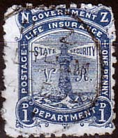 Stamps New Zealand 1891 Lighthouse SG L8 Fine Used SG L8 Scott OY2 Life Insurance Stamp