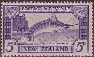 New Zealand 1936 SG 584 Stripped Marlin Fish Fine Mint