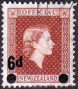 New Zealand 1959 Queen Elizabeth Official SG O168 Fine Used