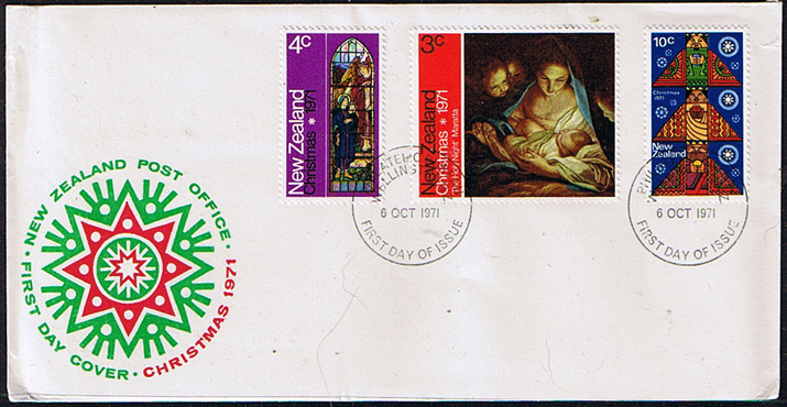 New Zealand 1971 Christmas Set on First Day of Issue Cover
