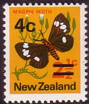 New Zealand 1971 SG 957b 4c Surcharged Butterfly Fine Mint
