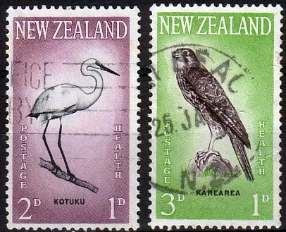 Stamps of New Zealand Health 1961 Birds Set Fine Mint