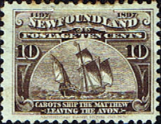 Postage Stamps Newfoundland 1897 SG 73 Discovery  Cabot's ship, the Matthew Fine Mint Scott 68