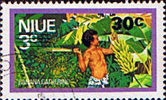 Niue Stamps 1977 Food Gathering Surcharged SG 226 Scott 205
