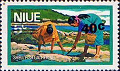 Niue Stamps 1977 Food Gathering Surcharged SG 228 Scott 207