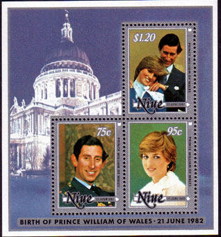 Stamps 1982 Niue ROYAL BABY Prince William Miniature Sheet Fine Mint