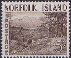 Stamps Norfolk Island 1953 Bloody Bridge Fine Mint SG 18 Scott