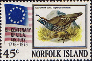 Birds Stamps Norfolk Island 1976 American Revolution Fine Mint SG 175 Scott 197