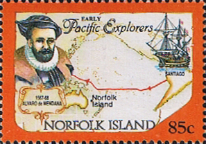 "Stamp Norfolk Island 1994 Pacific Explorers Fine Mint SG 569 Scott 559 Alvaro de Mendana, map and ""Santiago"